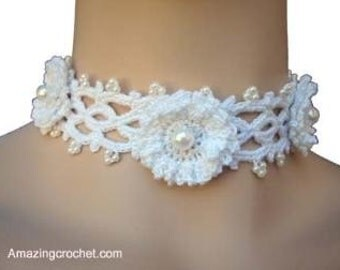Easy 1 hour Project Bridal Mom Choker crochet pattern by AMAZINGCROCHET