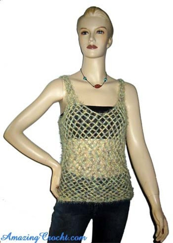 Free Crochet Patterns For Mesh Tops : AMAZINGCROCHET Mesh Tank Top crochet pattern by aviataur ...