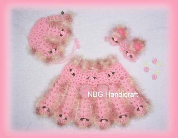 AMAZINGCROCHET Funky Fur Rose Buds 4-pc Outfit crochet pattern