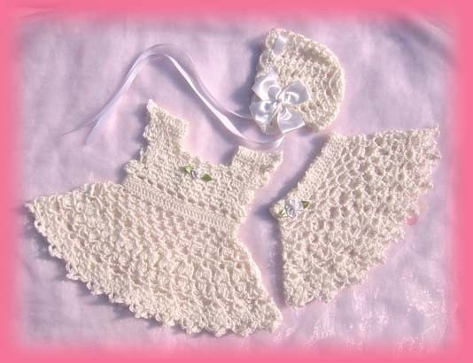AMAZINGCROCHET Christening Poncho 3-pc Outfit crochet by ...