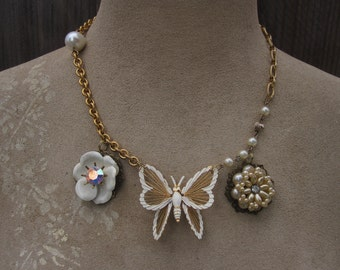 Vintage Butterfly Rhinestone Necklace