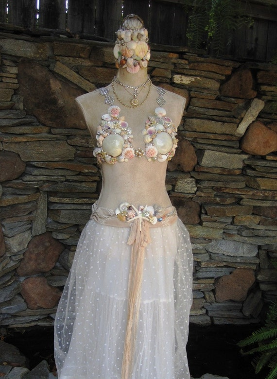 Antiqued Dress Form with Seashells and Rhinestones