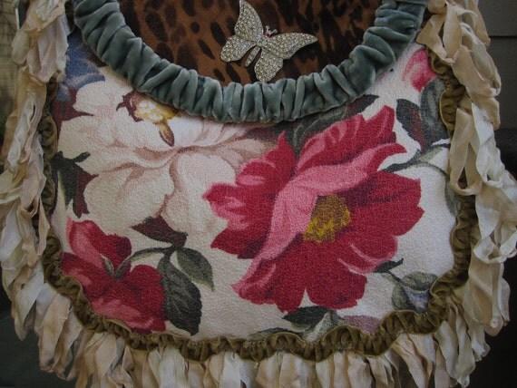 Vintage barkcloth and Leopard Carpet Bag