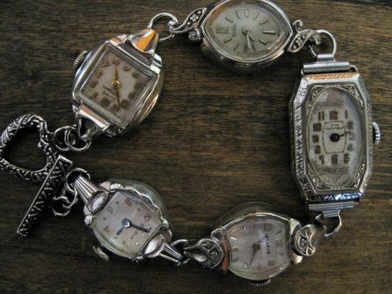Old Vintage Watch Face Bracelet