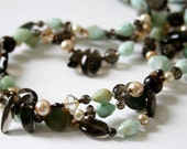 Nature Inspired - Chrysoprase, Smoky Topaz, Natural Green Turquoise, Freshwater Pearls, Czech Faceted Glass, Wood
