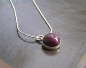 Little Ruby On Sterling Silver Necklace