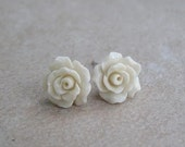 White Ivory Coral Rose flowers ,  stud Earrings , Sterling silver , bridal jewelry ,bridesmaids jewel