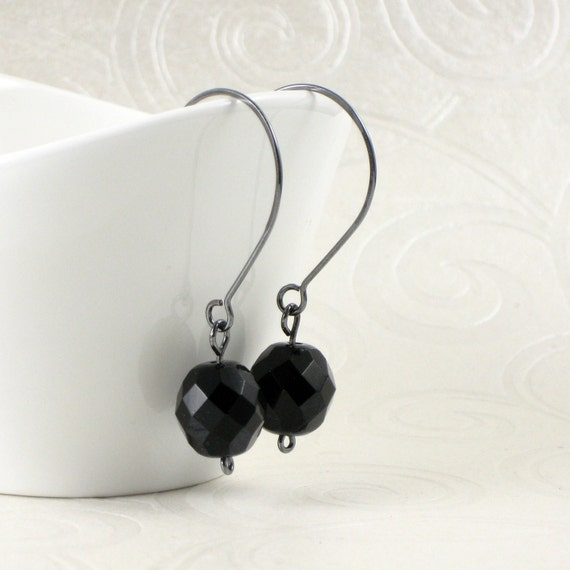 Jet Black Earrings, Dangle Earrings, Black Czech Glass Earrings, Dark Silver Earrings