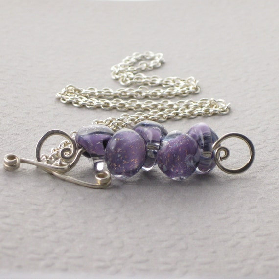 Sparkle Purple  Necklace, Boro Lampwork Glass Teardrops, Sterling Silver