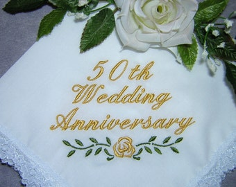 50th/25th Wedding Anniversary Keepsake Heirloom Handkerchief Personalized Gift