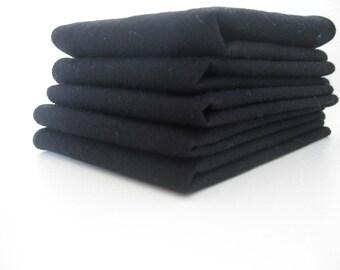Cloth Napkins - Solid Black - 100% Cotton Napkins