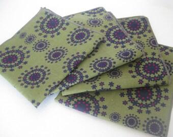 Cloth Napkins - Olive Dot Flowers - 10 Inch Cotton (25.4 cm)