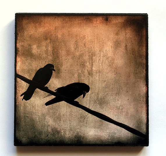 """5"""" x 5"""" Photo Art Block 2 Crows watching the world go by"""