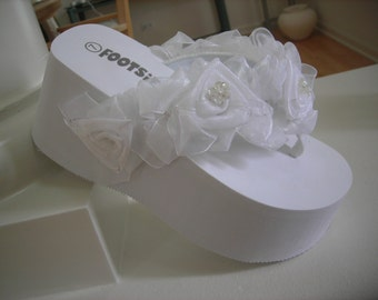 White Rose Organza Bridal Flip-Flop