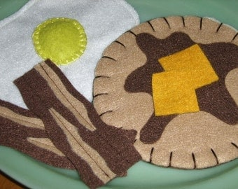 Handmade Breakfast Pancake, Egg and Bacon Breakfast, Felt, Play Food, Fake Food, Child's Imagination Toy - MADE TO ORDER