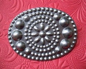 Vintage Steel Oval Bubble Flower Pronged Stamping