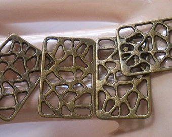 4 Rectangle Filigree Findings - Antiqued Brass