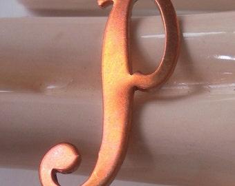 Vintage Metal Letter - P - Ornate Script Vintage Copper Letter