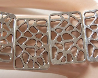 4 Rectangle Filigree Findings - Antiqued Silver