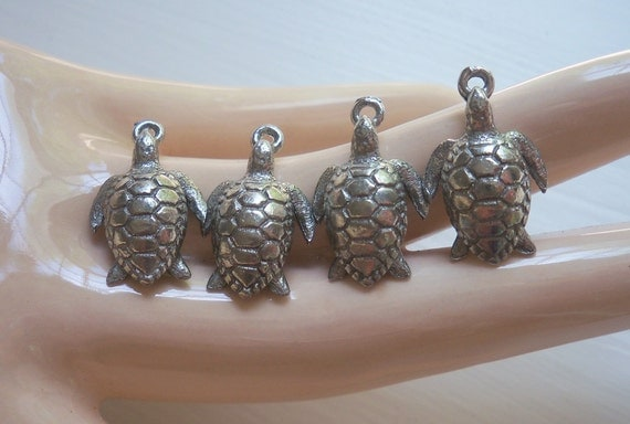 Vintage Silver Turtle Charms