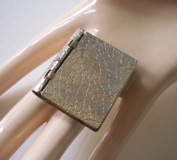 Vintage Silver Book Locket Etched Reptilian Skin - Unusual