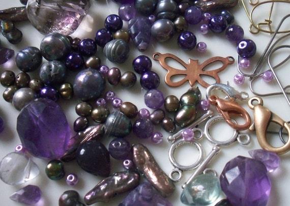 Peacock Pearls And Amethyst Jewelry Making Kit Freshwater Pearls Amethyst Gemstones Earrings Findings Clasps Vintage Butterfly Pendant