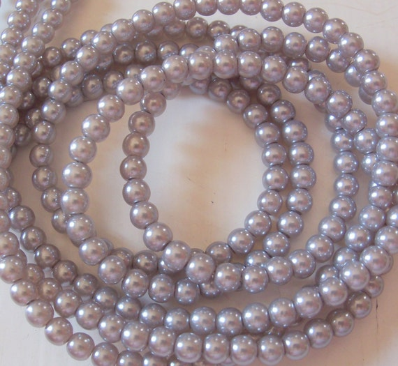 4mm Glass Pearls Light Gray - 16 Inch Strand Round Glass Pearls