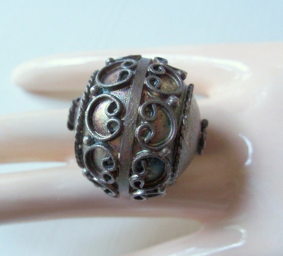 Vintage Art Deco Oxidized Silver Focal Bead