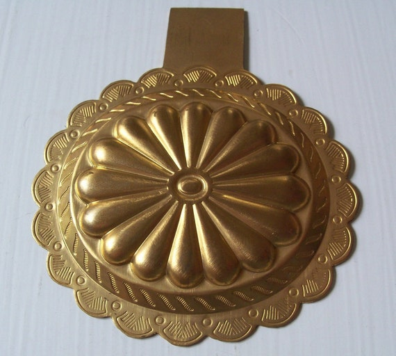 Large Vintage Brass Deco Stamping