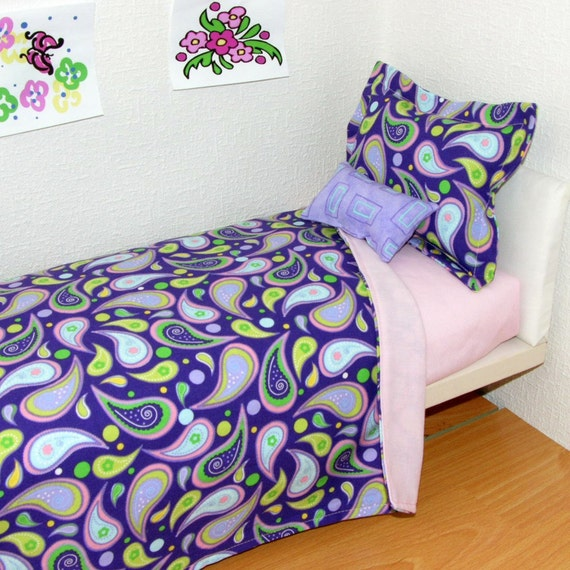 Purple Madness  Doll Bedding Set fits 15 to 18 inch doll American Girl  -  MATTRESSES and Custom Orders available