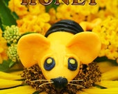 Honey Bee Mouse Polymer Clay Sculpture Mystical Mouse Figurine