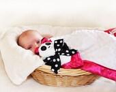 Minky Panda Bear Security Blanket, Lovey Blanket, Satin, Baby Blanket, Stuffed Animal, Baby Toy - Customize Color - Add Monogramming
