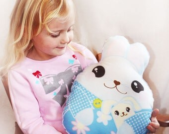 Blue Bunny Rabbit, Baby Toy, Plush toy, Minky pillow, Stuffed animal, pillow