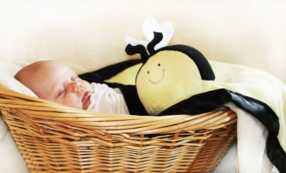 Bumble Bee Security Blanket, Lovey Blanket, Satin, Baby Blanket, Stuffed Animal, Baby Toy - Customize Color - Monogramming Available