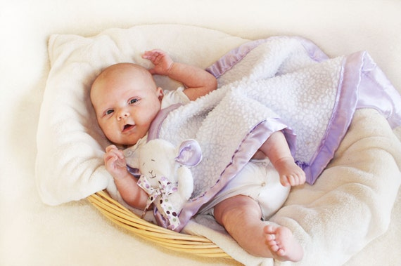 Fluffy Baby Lamb Security Blanket Lovey Blanket Satin Baby