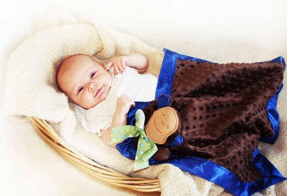 Brown Minky Monkey Security Blanket, Lovey Blanket, Satin, Baby Blanket, Stuffed Animal, Baby Toy - Customize Color