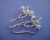 Petite glass beads on silver plated wire earrings E-16
