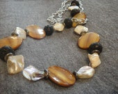 Shell and Lava Rock Necklace N-22