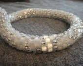 Crocheted Sparkling Eggshell and Silver Necklace - Great for anyone who likes to sparkle - N-28