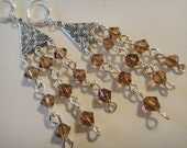 Amber and Silver Chandelier Earrings E-83