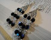 Black and Silver Chandelier Earrings E-85