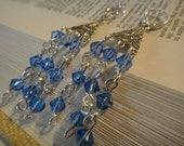 Blue and Silver Chandelier Earrings E-86