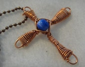 Wire Wrapped Cross Necklace in Copper with Blue Cat's Eye N-33