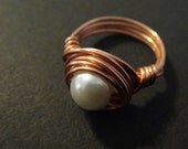 Ivory White Pearl Copper Ring Size 7   R-5