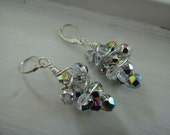 Sterling Silver Wire Wrapped  Earrings Vitrail Crystal Glass Earrings E-93