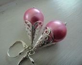 Pink Glass Pearl Earrings, Victorian Earrings, Silver filigree earrings  E-104