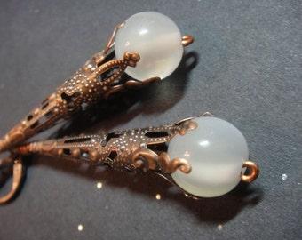 Milky White Earrings- Copper filigree (E24)