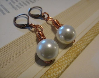 Pearl Copper earrings wire wrapped E-92