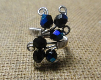 Black Adjustable Ring - Blue Purple Teal - Cocktail Ring - Wire Wrapped - Silver Plate Wire - Fire polished R-12