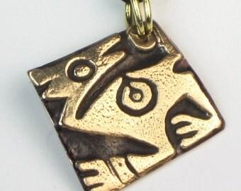 Inca Mythical Animal Spirit Bronze Amulet - Southwest Tribal Peruvian Mythical Spirit Pendant - Inca Mythical Animal Spirit Bronze Key Ring